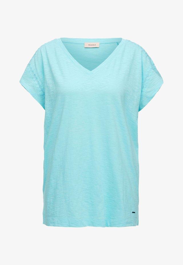 MIT EMBROIDERY-NAHT - T-Shirt basic - aqua