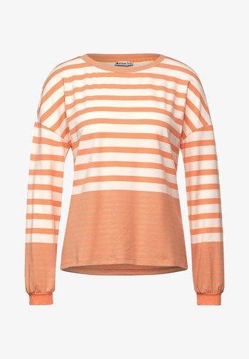 MIT STREIFEN - Long sleeved top - strong mandarine