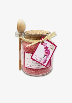 BADESALZ ORCHIDEE IM GLAS MIT HOLZLÖFFEL 300 G - Bubble bath & soak - rosa