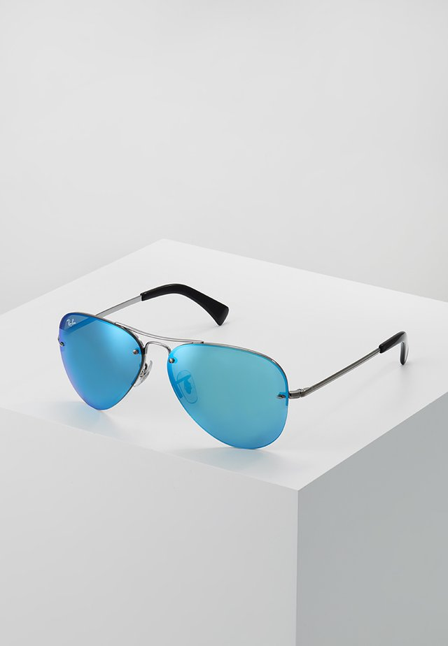 Sunglasses - gunmetal light green mirror blue