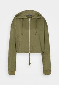 Missguided Tall - CROP ZIP HOODY JOGGER SET - Zip-up hoodie - khaki - 2