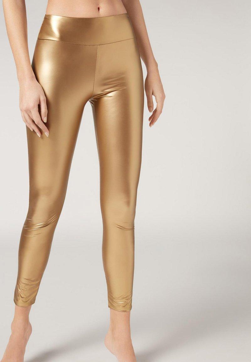 Calzedonia - MIT LEDER-EFFEKT - Leggings - Stockings - c gold yellow