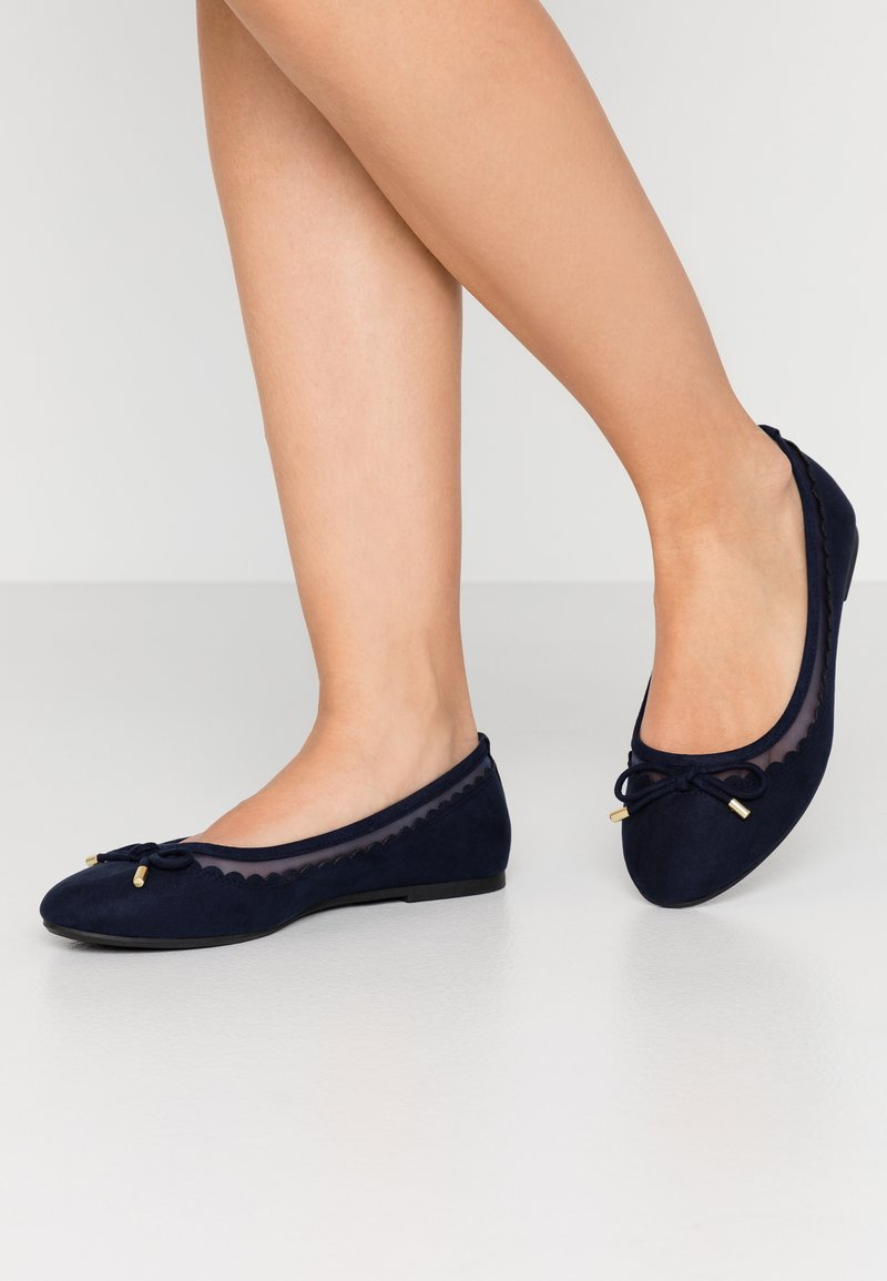 Dorothy Perkins Wide Fit - WIDE FIT PIPPASCALLOP ROUND TOE  - Ballet pumps - navy