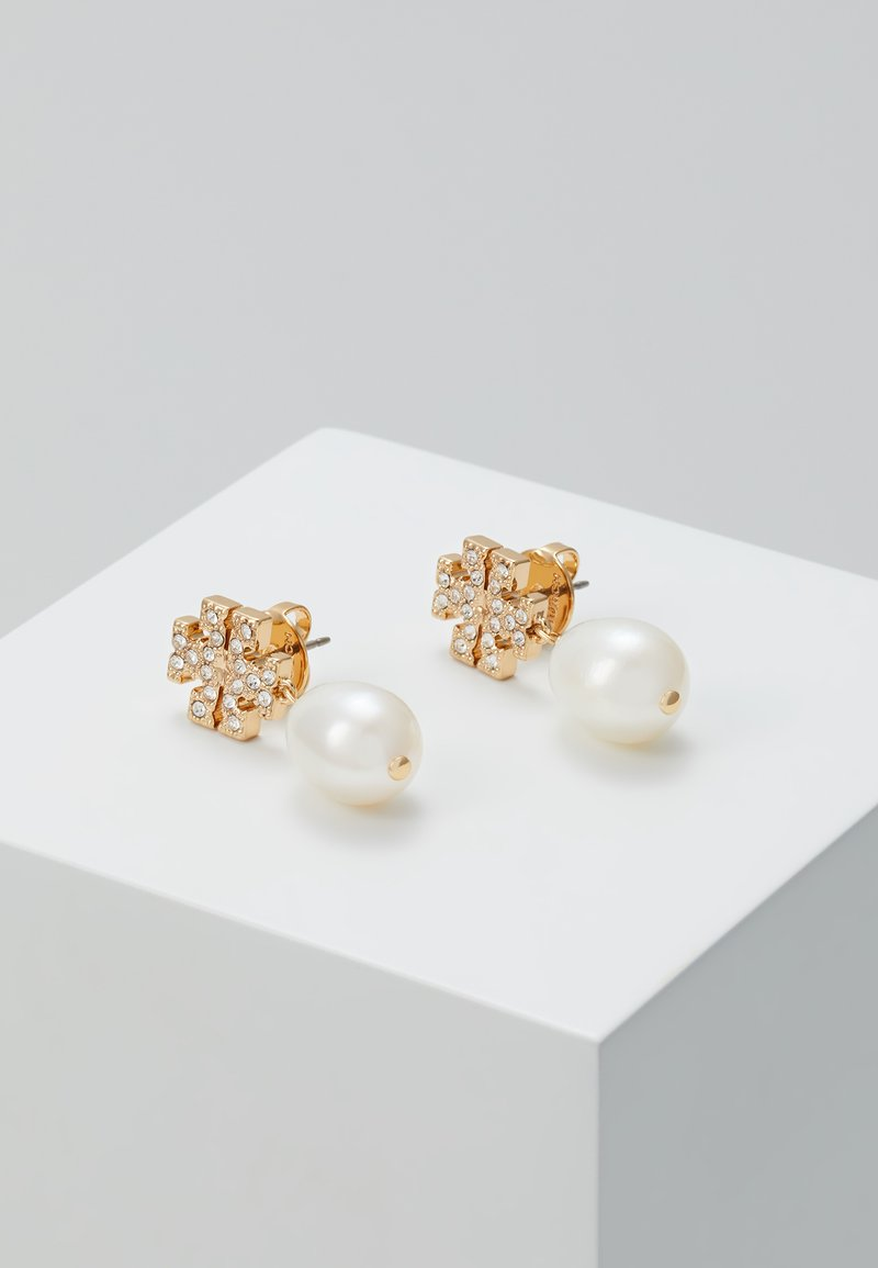 Tory Burch - KIRA PAVE PEARL DROP EARRING - Náušnice - gold-coloured
