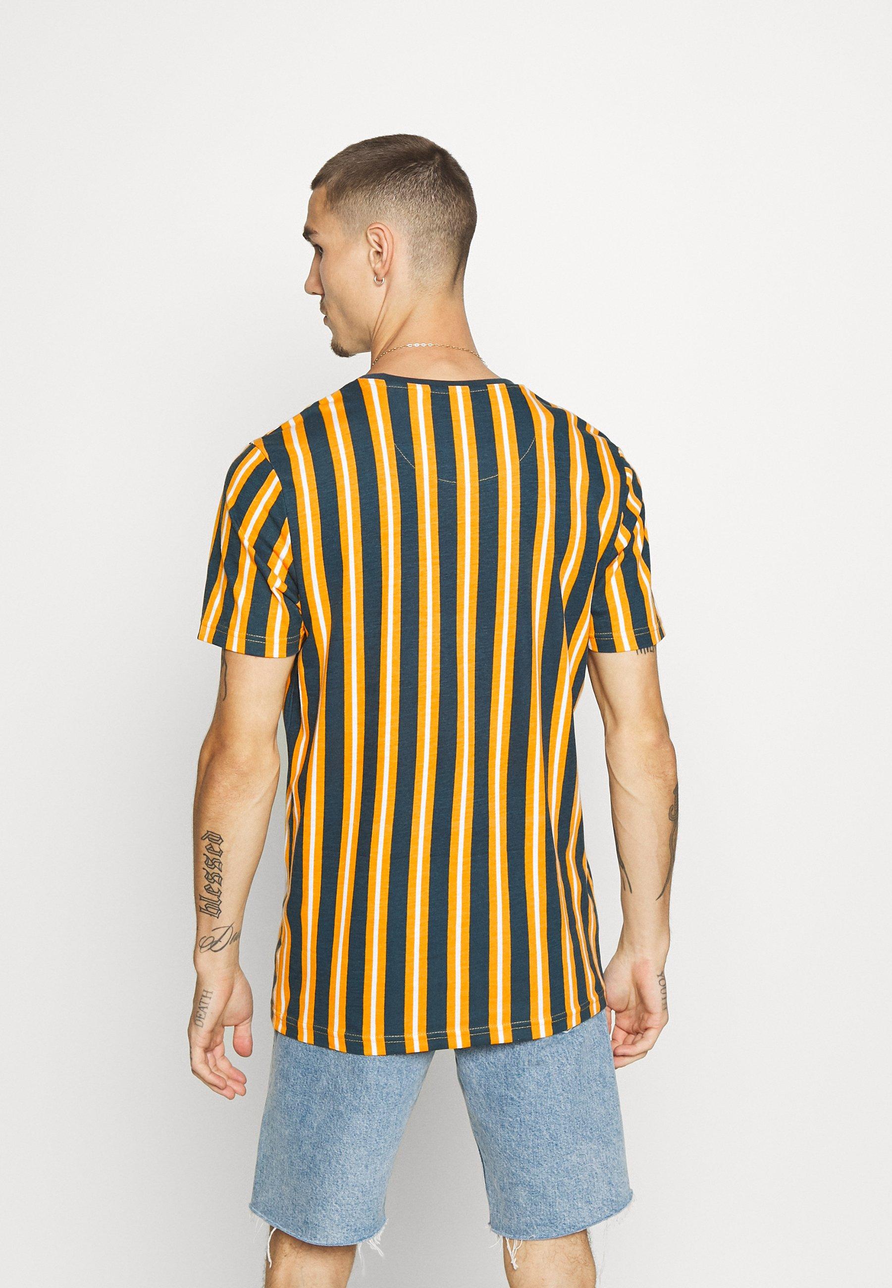 Brave Soul DIAGONAL - Print T-shirt - mustard/white/teal lWqtI