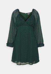 Missguided Tall - MILKMAID SKATER DRESS DOBBY - Day dress - dark green - 0
