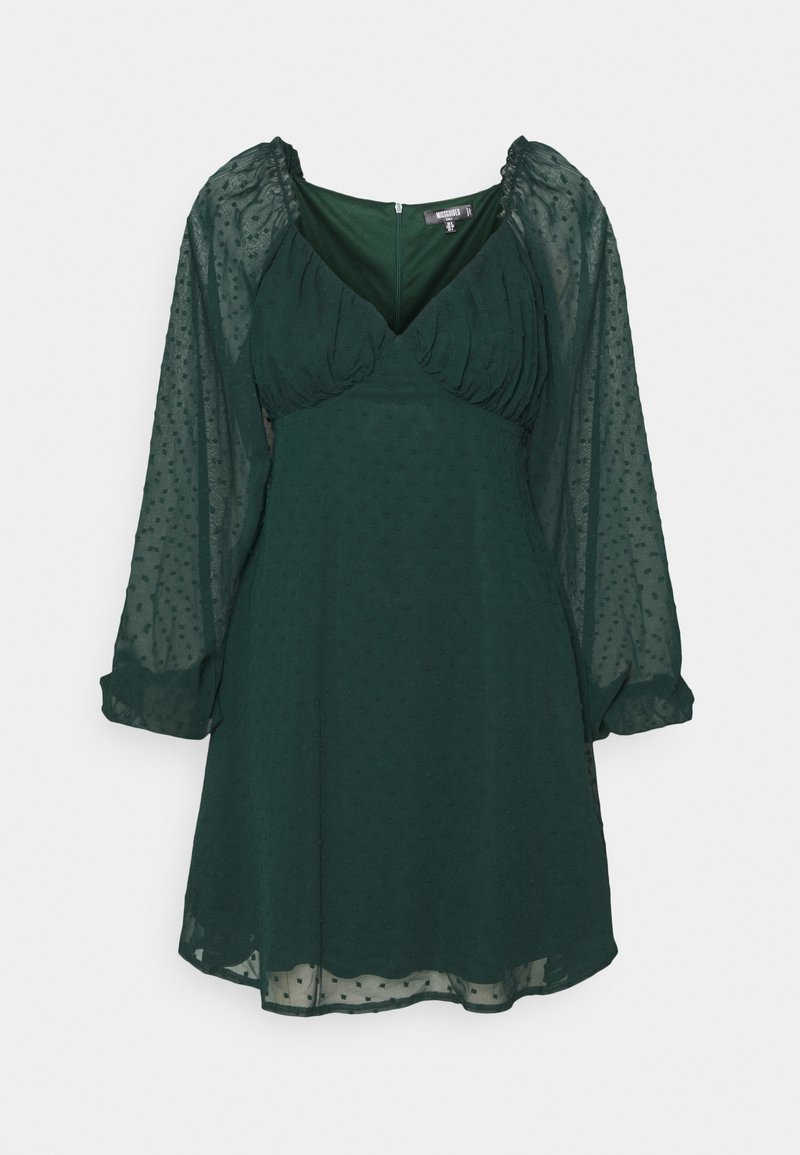 Missguided Tall - MILKMAID SKATER DRESS DOBBY - Day dress - dark green