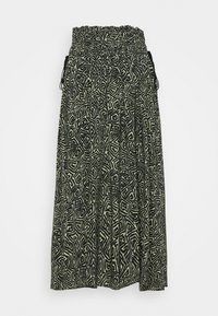 Proenza Schouler White Label - PRINTED TIE WAIST SKIRT - A-line skirt - black/spanish moss - 6