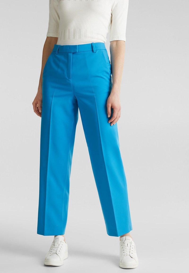 Esprit Collection - SHIMMER MIX + MATCH STRETCH-HOSE - Pantalon classique - dark turquoise