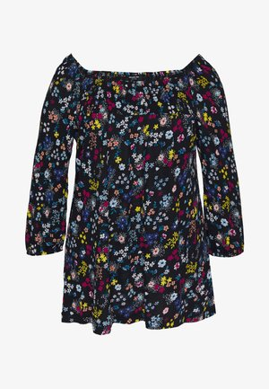 DITSY PRINT SHIRRED SQUARE NECK - Long sleeved top - black/multi