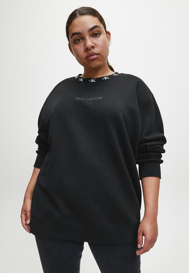 PLUS CK LOGO TRIM NECK  - Felpa - ck black