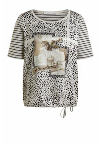 Oui - Print T-shirt - light camel grey - 5