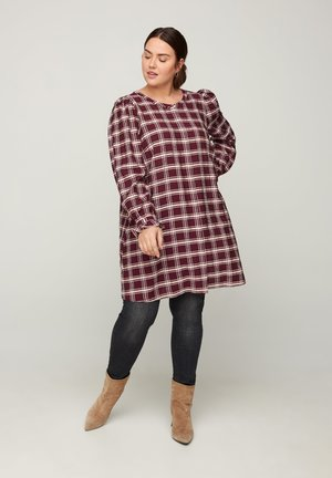 WITH A CHECKED PRINT - Tunic - red