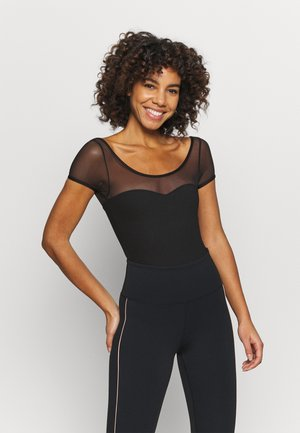 YOKE SHORT SLEEVE LEOTARD - Danspakje - black