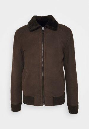 BURGALESE  - Leather jacket - dark brown