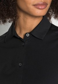 Marc O'Polo - JERSEY BLOUSE  SMALL STAND UP COLLAR BUTTON CLOSURE - Button-down blouse - dusty black - 4