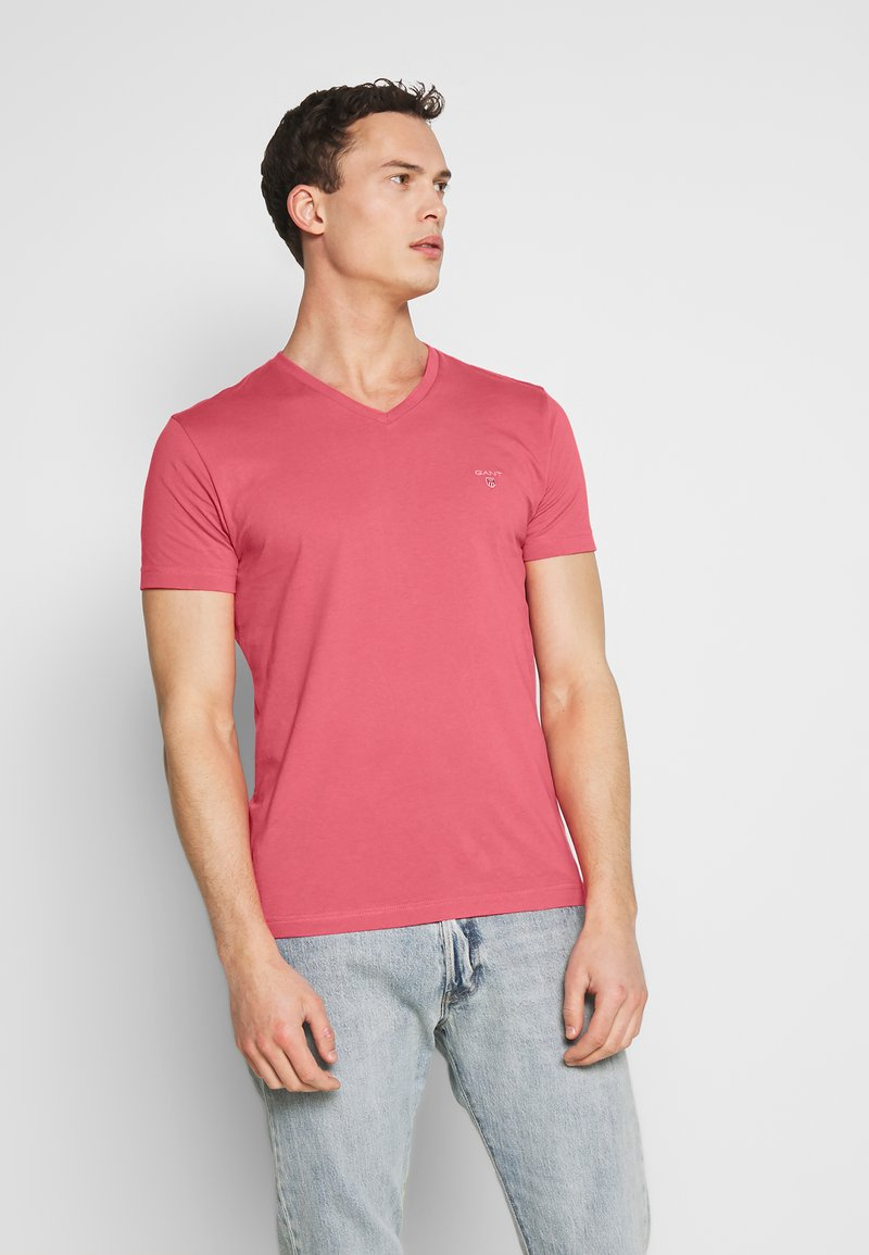 GANT - ORIGINAL SLIM V NECK - T-shirt - bas - bright pink