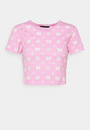BUTTERFLY MONOGRAM  - Print T-shirt - pink