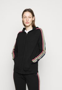 CHINTI & PARKER - STRIPE SLEEVE HOODIE - Sweater met rits - black - 0