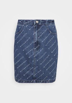 PRINT SKIRT - Denim skirt - blue