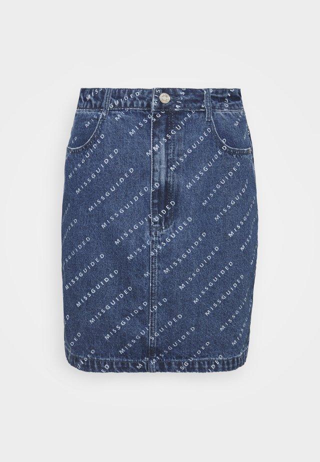 PRINT SKIRT - Denimová sukně - blue