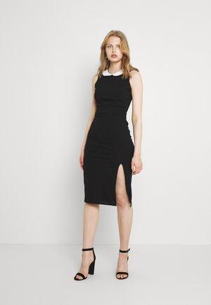 ABBIE COLLAR MIDI DRESS - Shift dress - black/white