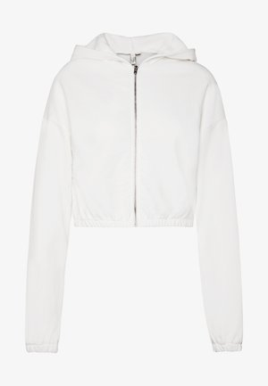CROPPED ZIP HOODIE - veste en sweat zippée - white