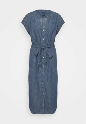 MIDI DRESS - Denim dress - medium indigo