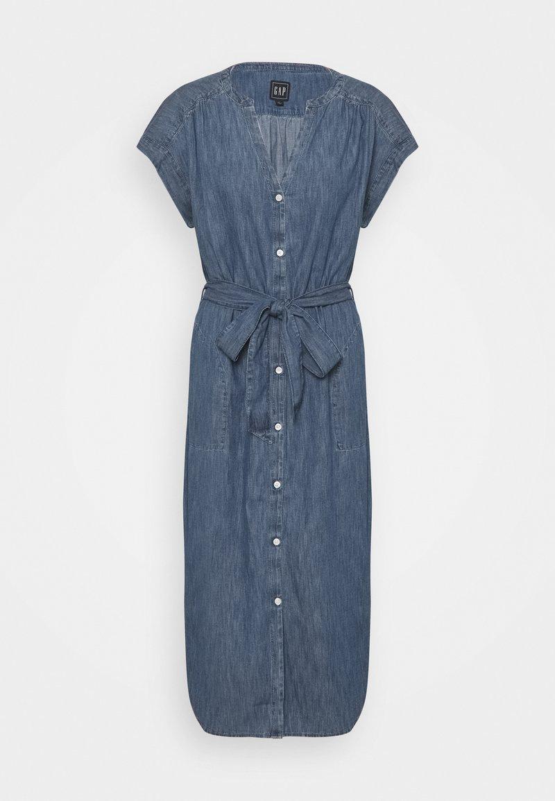GAP - MIDI DRESS - Denim dress - medium indigo