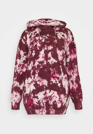 TIE DYE HOODY DRESS - Jersey con capucha - raspberry
