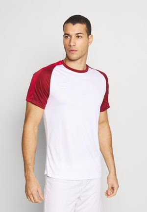 TRAINING - T-shirt med print - brilliant white/merlot