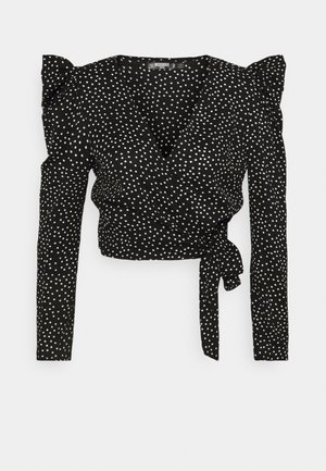 PUFF SLEEVE TIE SIDE POLKA DOT PRINT - Blouse - black