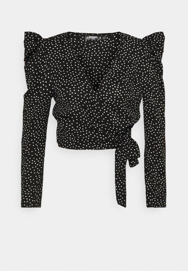 PUFF SLEEVE TIE SIDE POLKA DOT PRINT - Bluser - black