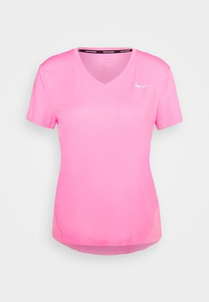 MILER V NECK - T-shirt con stampa - pink glow/silver