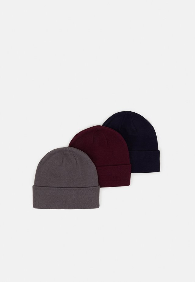 3 PACK UNISEX - Mössa - dark blue/dark grey/bordeaux