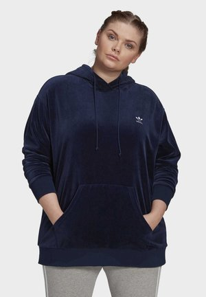 VELOUR TREFOIL HOODIE (PLUS SIZE) - Sweat à capuche - blue
