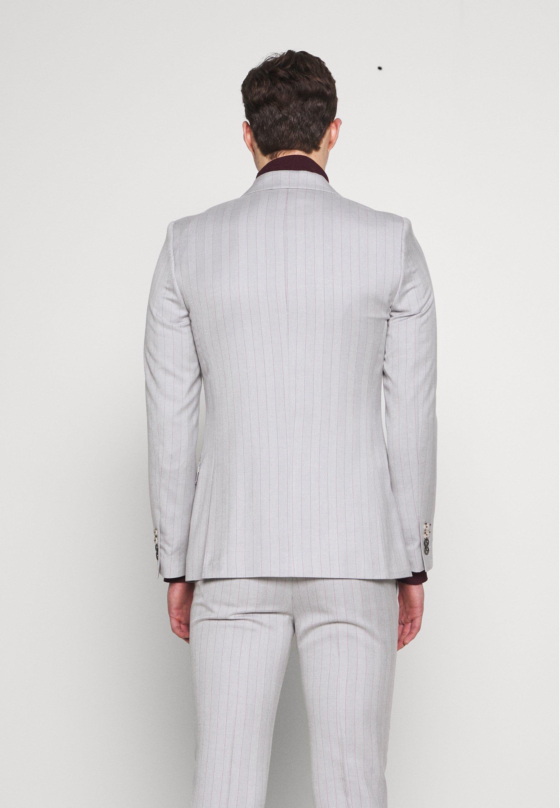 1904 BONE STRIPE JACKET SKINNY FIT - Marynarka garniturowa - light grey - Odzież męska 2020