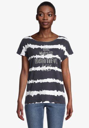 Print T-shirt - dunkelblau/weiß