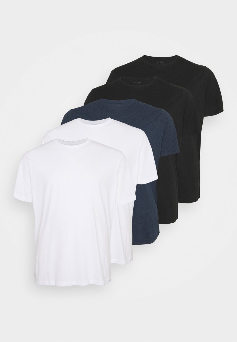 Pier One - 5 PACK - T-shirt - bas - white/black/blue