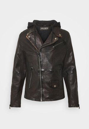 BE READY - Leather jacket - redwood