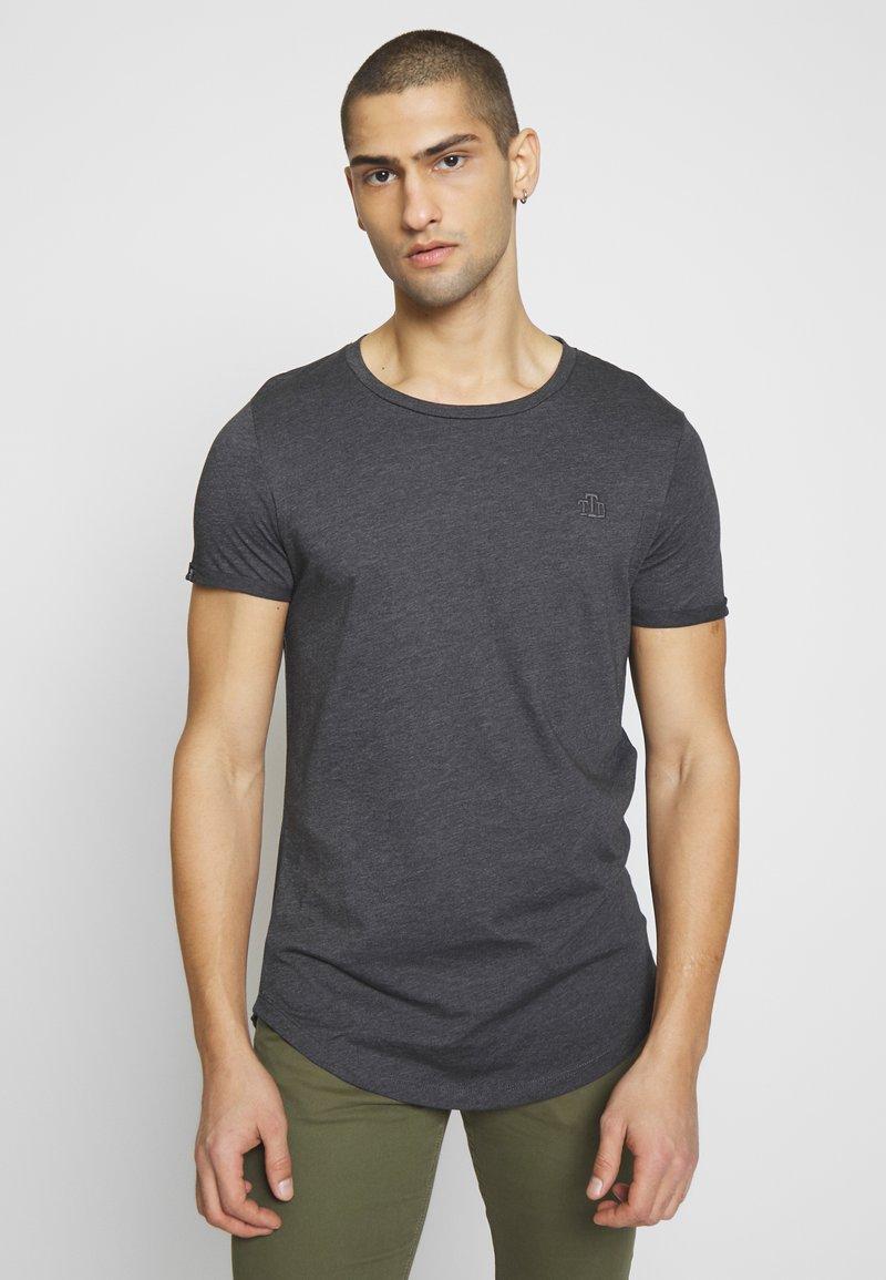 TOM TAILOR DENIM - LONG BASIC WITH LOGO - T-shirt - bas - dark grey