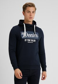 TOM TAILOR DENIM - HOODY WITH PRINT HOOD - Hoodie - sky captain blue - 0