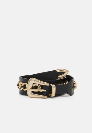 PCVICKY WAIST BELT - Ceinture taille haute - black/gold-coloured