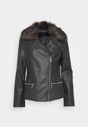 GREY FUR TOP BIKER - Faux leather jacket - grey
