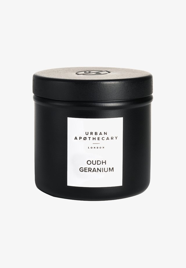 LUXURY IRON TRAVEL CANDLE - Scented candle - oudh geranium