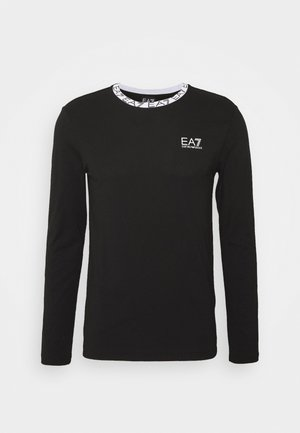TEE COLLAR LOGO - Long sleeved top - black
