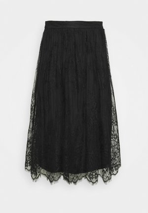 OCCASION - ALL OVER LACE HIGH WAISTED MINI SKIRT - Jupe trapèze - black