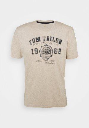 LOGO TEE - T-Shirt print - cosy soft beige melange