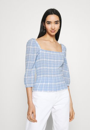ONLDAKOTA LIFE CHECK SMOCK - Long sleeved top - cloud dancer/blue