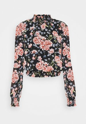 PCFLOWI SMOCK NECK - Blouse - black/pink
